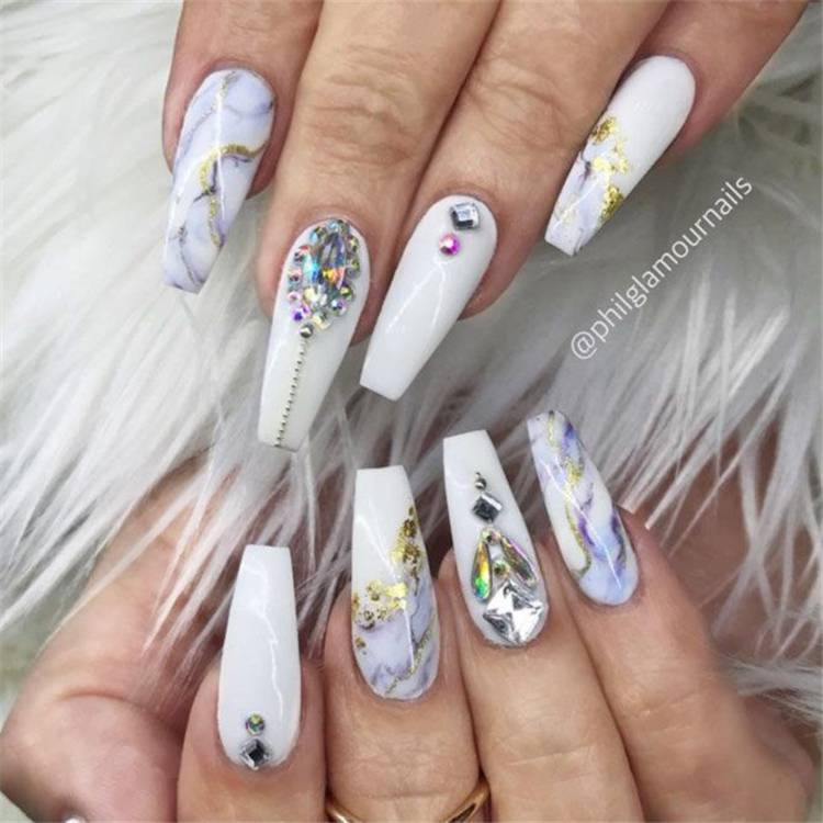 Amazing Coffin Nail Designs With Rhinestones You Must Love; Coffin Nails; Coffin Nails With Rhinestones; Coffin Nail Designs; Red Coffin Nails; Black Coffin Nails; White Coffin Nails; Rhinestones; Nail Designs #coffinnail #longcoffinnail #whitecoffinnail #blackcoffinnail #redcoffinnails #coffinnailwithrhinestones #rhinestones #coffinnaildesign