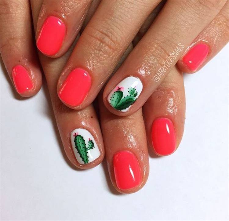 Cute And Pretty Summer Nail Designs You Must Love; Summer Nails; Nails; Nail Design; Cute Nail; Summer Cute Nail;Sunflower Nail; Palm Tree Nail; Prickly Cactus Nail; Cactus Nail; #nail #summernail #naildesign #cutenail #summercutenail #sunflowernail #palmtreenail #pricklycactusnail #cactusnail