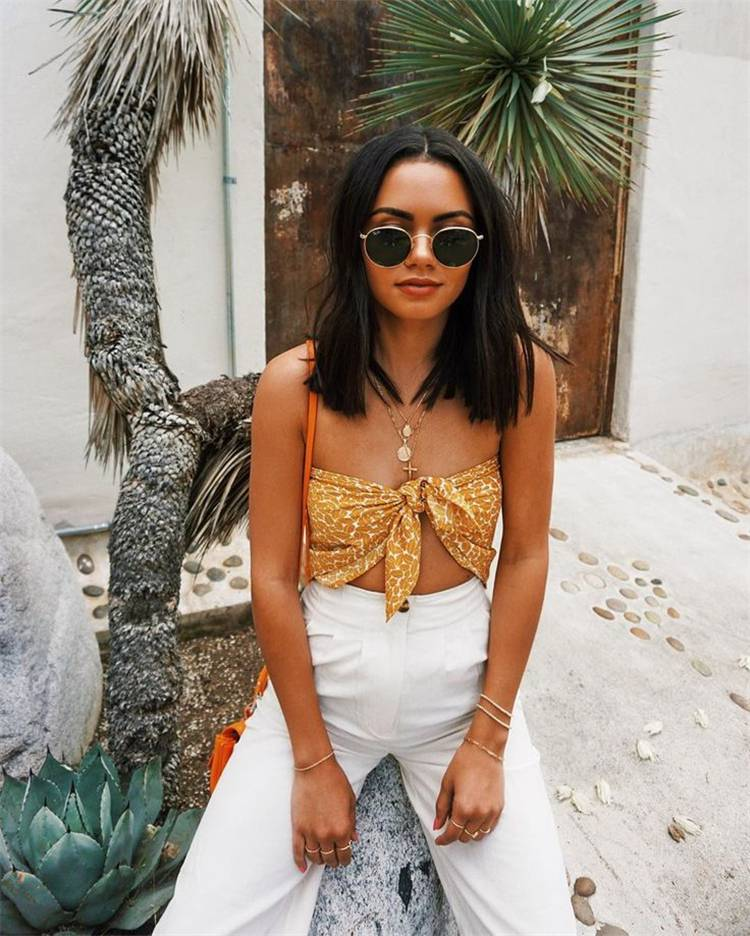 Sexy And Stunning Summer Outfits To Make You Look Amazing; Summer Outfits; Outfits; Hot Denim Shorts; Scarf Top Outfits; Summer Mini Dress; Summer Crop Top; Sexy Outifts; #summeroutfits #outfits #hotdenimshortsoutfits #minidress #croptop #sexysummeroutfits #deminshorts #scarftop #scarftopoutfits