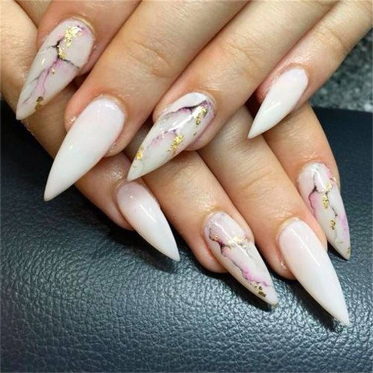 Gorgeous And Elegant Marble Nail Designs To Make You Glam; marble Square Nail; Square Nail; Coffin Marble Nail; Stiletto Marble Nail; #marblenaildesign #squarenail #squarenaildesign #naildesign #nail #coffinmarblenail #stilettomarblenail