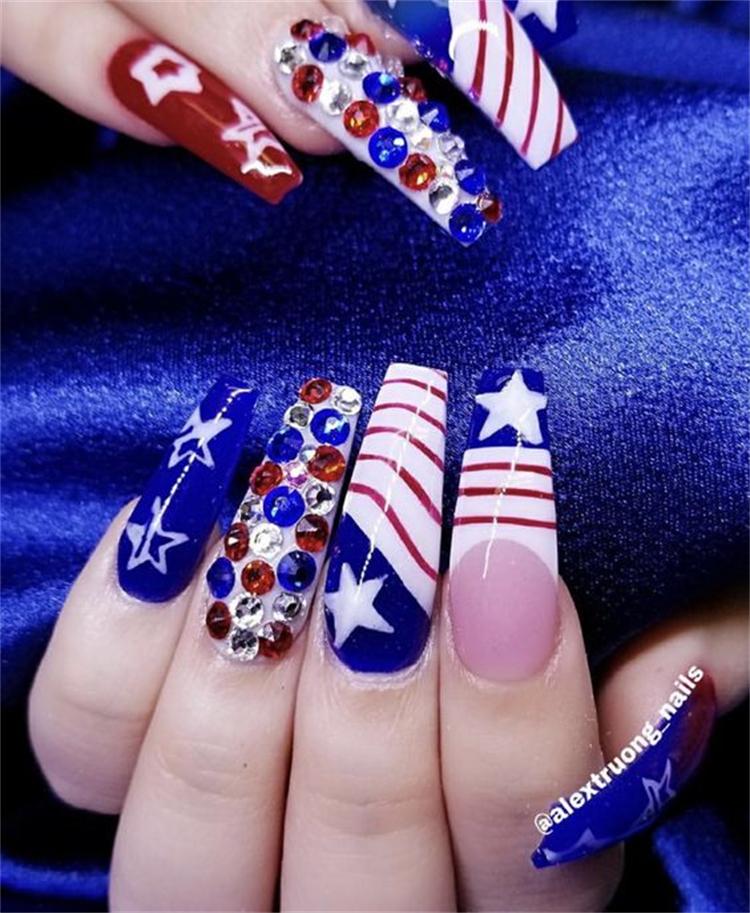 Best 4th Of July Nail Designs To Enjoy The Big Holiday; Holiday Nail; 4th Of July; American Nails; Square Nail; Coffin Nail; Stiletto Nail; USA Nail; #4thofjuly #4thofjulynail #squarenail #coffinnail #stilettonail #usanail #americannail #holidaynail