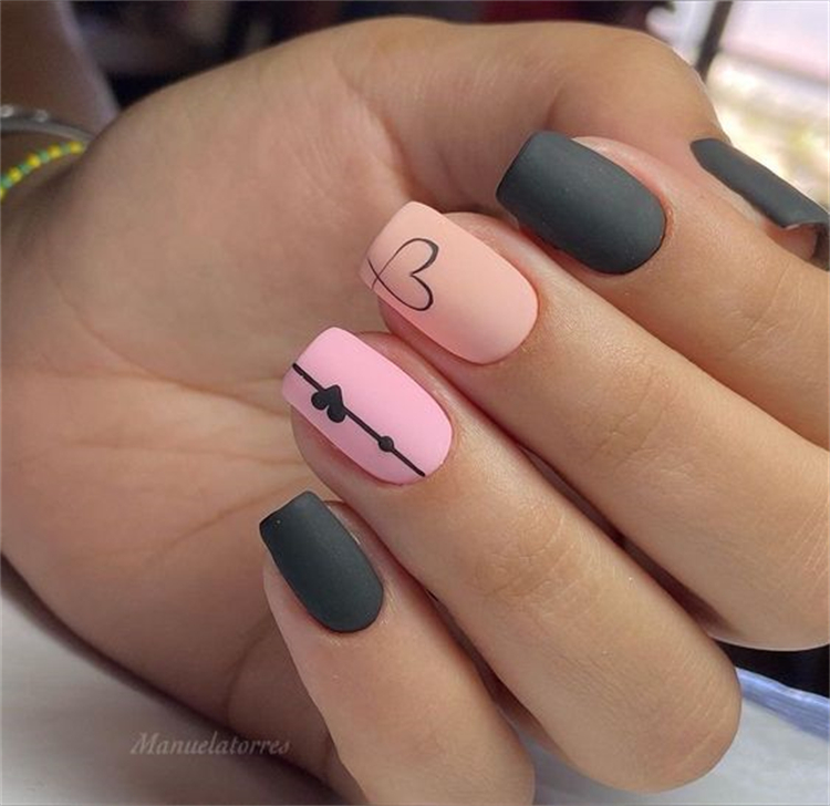 Pretty Nail Designs With Heart Shape To Warm Your Heart; Heart Shape; Heart Shape Nail Design; Nail Design; Short Square Heart Shape Nail; Coffin Nail Heart Shape; Almond Heart Shape Nail; #nail #naildesign #squarenail #coffinnail #almondnail #heartshapenail #heartshape #heartshapenail