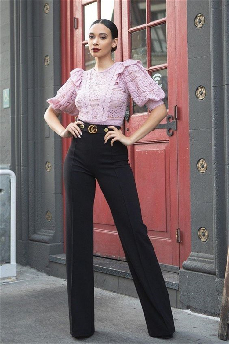 Gorgeous Summer Office Outfits To Give You A Boss Look; Office Outfits; Outfits; Summer Office Outfits; Office Pants; Office Skirt; Office Midi Skirt; Office Blouse; Office Shirt; #officeoutfits #outfits #summerofficeoutfits #officepants #highwaistpants #officeskirt #officemidiskirt #officeblouse #midiskirt